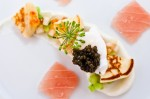 Moonfish Belly / Caviars / Kohlrabi / Blini / Quail Egg / White Nectarine / Blossoming Dill