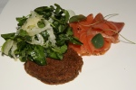 Gravlax with toasted rye, creme fraiche, and watercress fennel salad $10