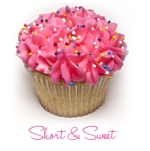 Short & Sweet Cupcakes - vanilla/chocolate cupcake with pink butter cream