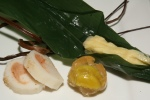 Vinegared crab, persimmon rolled with egg crepe & fish cake stuffed with cod roe