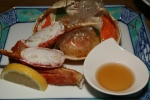 Snow crab grilled in cellophane