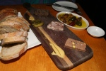 Bread, Terrine Board, (Pork Pistachio, Head Cheese, Beef Cheek) Cochons, Dijon Mustard ,Olives