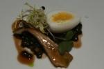 Amuse Bouche Quail egg, lentil mushroom salad, veal sauce