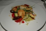 Seared Scallop/endive lettuces/avocado/blood orange beurre blanc crispy Jerusalem artichokes