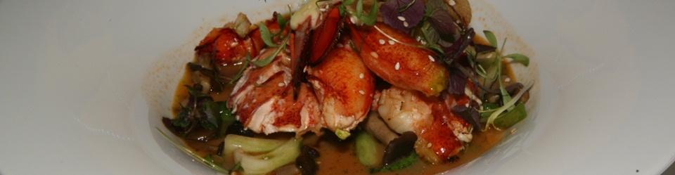 Grilled Lobster/coconut hurricane broth/Asian greens/shiitake mushrooms honey mushrooms/ginger sesame mayonnaise