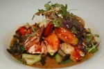 Grilled Lobster/coconut hurricane broth/Asian greens/shiitake mushrooms honey mushrooms/ginger sesame mayonnaise
