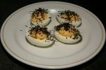 Deviled Eggs, sriracha, nori, sesame seeds $5