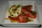 LAB Restaurant Caprese alla buratta with smoked heirloom tomatoes, and white balsamic syrup