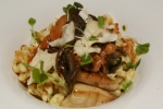 LAB Restaurant Smoked spaetzle with seasonal mushrooms, crispy garlic, and Italian parsley sauce