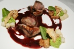 LAB Restaurant 55 degree spiced Ontario lamb loin, served with sweetbreads, watercress, celeriac, Chianti beurre rouge