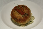 Dungeness Crab Cake Pan-seared on fennel, avocado, tomato and ginger jam $20.