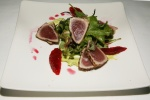 Ahi Tuna Tataki Seared tuna, blood orange and fennel salad, avocado puree $17.