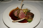 Lamb, Ontario Roasted rack, pumpkin seed crust, winter squash puree, seasonal vegetables, lamb jus $44.