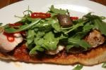 """Pizzeria Libretto Danforth Pizza Fritta (pan fried pizza dough) """"porchetta"""", chinotto bbq sauce, chili & arugula"""