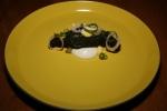 Catfish - pumpernickel, goat's curd, pickled egg yolk & white, onion tops