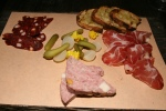 Selection of house-made charcuterie, pickles, mustard [missing], bread $13/25