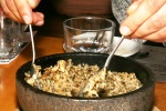 BIBIMBAP - Rice, mushrooms & cheese bibimbap with seaweed sauce in sizzling stone bowl