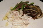 Pauro al Sale Fresh white snapper excrusted in coarse sea salt served with roast radicchio and green beans