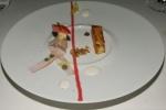 Victor's Foie Gras Parfait - Lennox Farms Rhubarb Confit, Black Truffle Coulis, Walnut Crumble