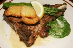 Grilled Grass Fed Veal T-Bone $26.00, Panko Crusted Onions, Creamed Spinach, Asparagus, Parmesan Sauce