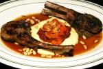 Grilled Ontario Lamb Rack $28.00, Lamb Saffritto, Eggplant, Polenta. Pinenuts, Jus