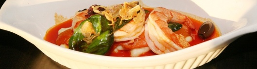 Sautéed Shrimp, Salt Cod Brandade $14.00, Basil, Black Olives, Red pepper Sauce