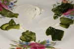 60. Pickled cucumber with whipped goat's cheese