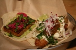Pig tail taco / Baja Fish Taco (Pig Tail far too spicy for Marsha)