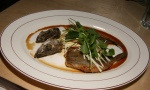 whiting & ponzu Pan seared whitefish, ponzo sauce, celeriac, radish, watercress, deep-fried crispy fish heads
