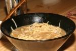 Miso Ramen $9.50 soybean paste, Kinton pork, beansprout, onion, scallion, corn, garlic oil, regular soup, pork shoulder