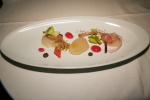 Qualicum Bay Scallop Sashimi, rhubarb, radish, walnut & black truffle coulis