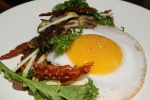 Goose Egg with Mushrooms (Yellowfoots, Hen of the Woods, King Oyster) Toast, Mustard Greens, Bacon