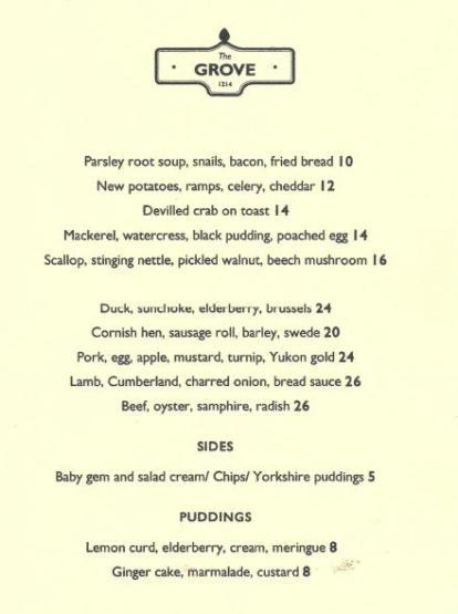 The Grove Restaurant Menu