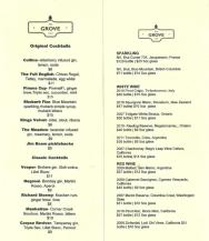 The Grove Restaurant Drink/Wine List