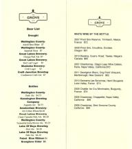The Grove Restaurant Beer/Wine List