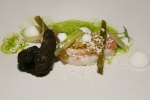 Maryland Prawn 2 ways – poached and fried in rye bread, wild celery, watermelon rind, whipped buttermilk, wild leek
