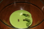 Chilled English Pea Soup - lamb jus, mint, buttermilk crumble, petit lettuce, pine nuts, chili thread