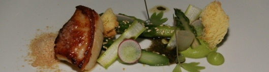 Roasted Diver Scallop - shaved foie gras, Ontario green asparagus & purée, benne genoise, radish, pickled onion