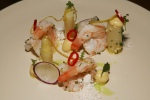 Poached Prawns - white asparagus, almond, brown butter, lemon balm $14