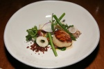 Diver Scallop - fried calamari, pencil asparagus, andouille, black bean purée, hominy $15