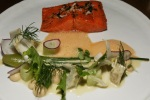 Sockeye Salmon - caramelized fennel puree, artichoke, old bay, crispy rice, crab bisque $24