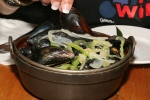 Mussels for One $13 with frites & aioli steamed in white wine broth with fennel olives garlic lemon & oregano