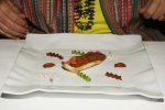 "Whole-Grain Red Mullet with Sauce ""Fusilli"" – Red Mullet fillet. head and bone's praline, liver and onion. Fusillis stuffed with parsley, soy and ""ajo blanco"" sauce. whole-grain because we use the whole Red Mullet, including head, bones and liver."