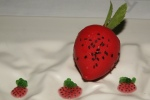 Layered Strawberry and Cream – A reconstructed Strawberry. Strawberries and cream flavour and a basil seeds game.