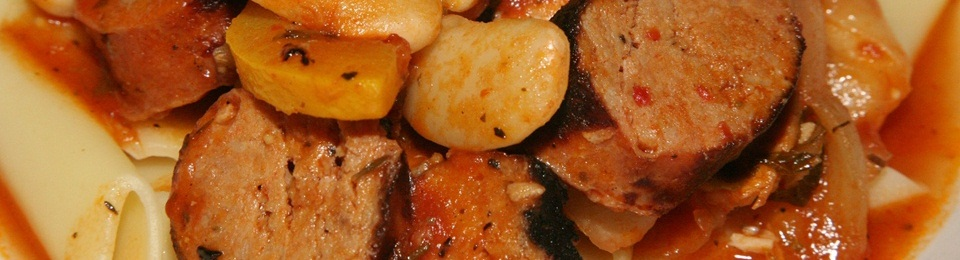 Cassoulet with Chicken, Sausage & Gigante Beans on Pasta