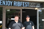 Daryl and Scott in front of the new @BusterRhinosBBQ location 28 King Street East Oshawa open until 9 pm