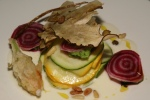First-of-the-Season Zucchini Pecorino Cream, Pine Nuts, Porcini Chips 9,00