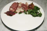 Roasted Muscovy Duck Breast, sweetbreads, greens
