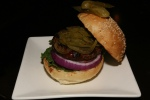 Hogtown Beef Burger $9 Ontario raised beef blended with our spice blend served on a sesame seed bun with classic garnish pickled jalapenos $1