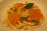 Bucatini con Bottarga (thick spaghetti-like pasta, hole through centre, Mediterranean delicacy of cured fish roe)